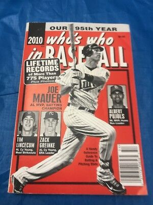 """2010 Who's Who In Baseball Book Joe Mauer On Front Cover """"Sale"""""""