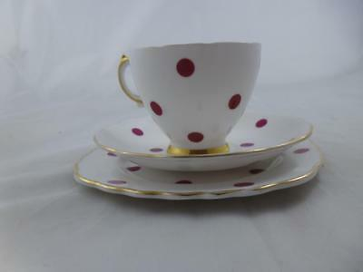 Royal Vale Bone China Polka Dot Trio - Red, (Cup, Saucer & Side Plate) No.2