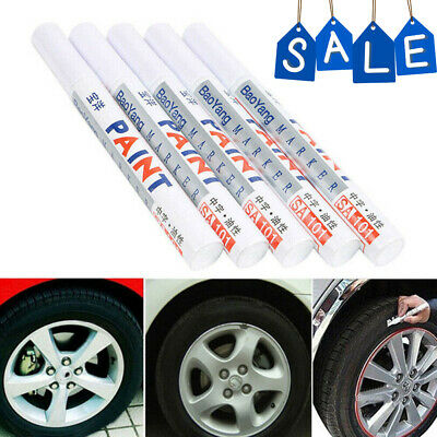 5x Car Waterproof Permanent Paint Marker Pen Tyre Tire Tread Rubber Letter White