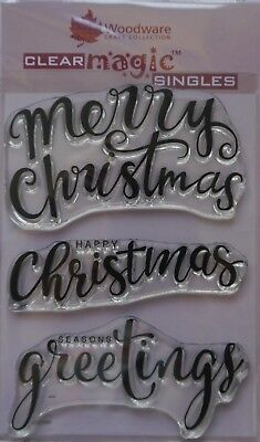 Woodware Clear Magic Acrylic Stamp  Set BIG CHRISTMAS WORDS Set of 3