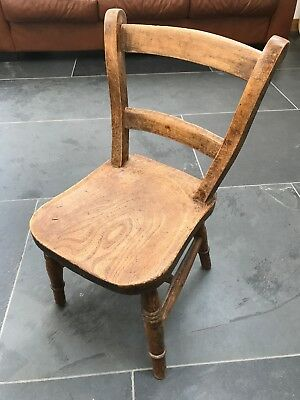 Charming Child's Rustic Antique Windsor Chair, May Be An Old School Chair