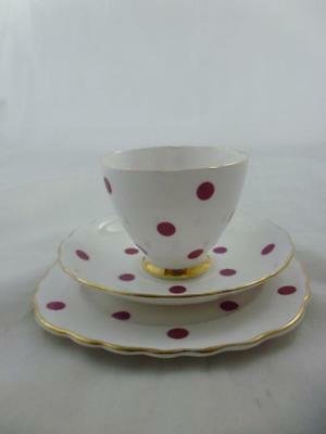 Royal Vale Bone China Polka Dot Trio - Red, (Cup, Saucer & Side Plate) No.3