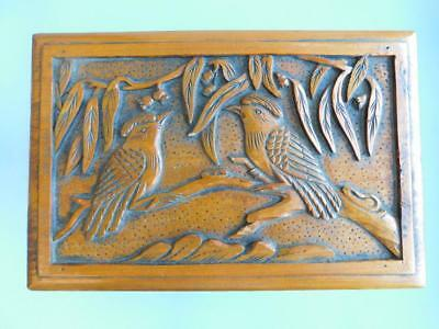 Beautiful Australian Carved Pine Wood Large Box Kingfisher Birds Gums 1900s