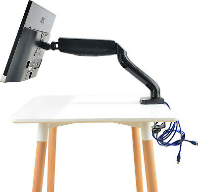 Single Arm Desk Mount Monitor Stand w/ Dual USB HD LED LCD TV Holder Gas Spring