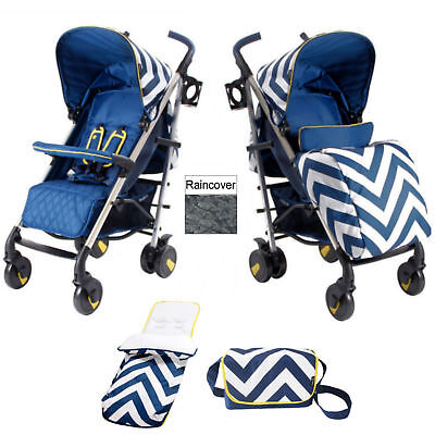 New My Babiie Blue Chevron Mb51 Pushchair Stroller With Footmuff & Changing Bag