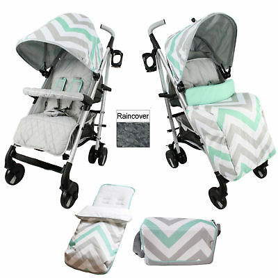 New My Babiie Mint Chevron Mb51 Pushchair Stroller With Footmuff & Changing Bag