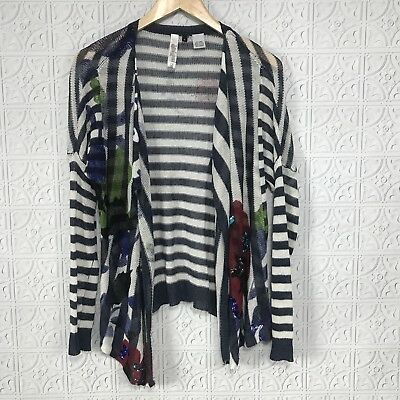 revendeur c5013 83ffc DESIGUAL CARDIGAN SWEATER Open Front Striped Navy Linen Blend Waterfall Sz S