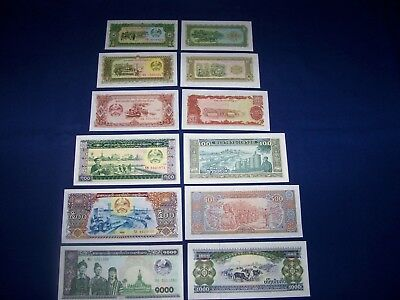 Set of 6 Different Bank Notes from Laos