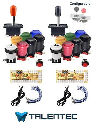 Arcade buttons kit of 28mm for 2 players. USB interface, joysticks. CUSTOMIZABLE