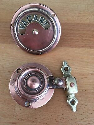 Original Old Victorian Copper & Brass Toilet Vacant/Engaged Lock Gorgeous!!