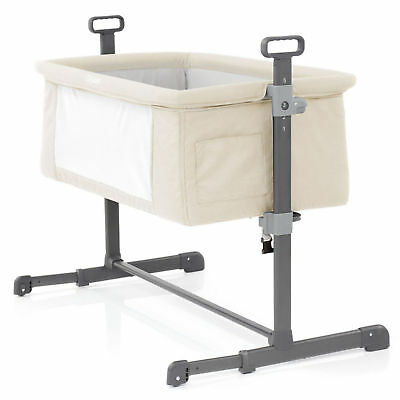 New Babystyle Sand Oyster Height Adjustable Side Sleeping Snuggle Crib Bed