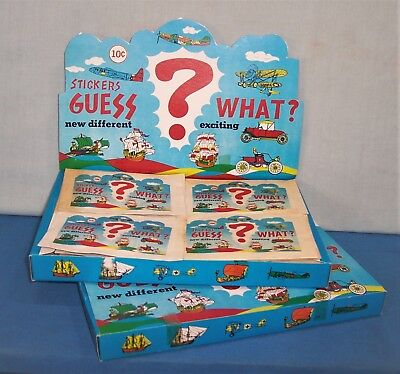 1970's Dime Store Novelty 72 in Store Display Box 10 Cent Prizes ~ 3 D Stickers