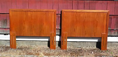 Pair Vintage Mid Century Modern Danish Scandinavian Teak Twin Bed Headboards