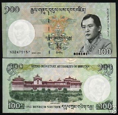 Bhutan 100 Ngultrum P32 2006 King Dzong Palace Unc Currency Money Bank Note