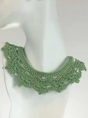 Green Collar Necklace,Statement Necklace, Crochet, Artisan Handcrafted
