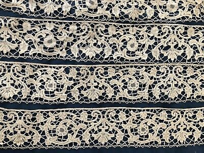 UNUSUAL Two matching lengths vintage Milanese bobbin lace borders COLLECTOR
