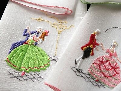 DANCERS in PERIOD COSTUMES Vintage 8 Linen Cocktail Napkins Swiss Embroidered