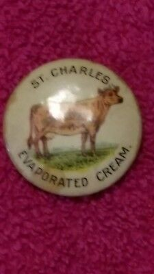 Vintage St. CHARLES EVAPORATED CREAM BUTTON WITH COW