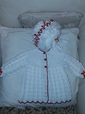 hand crochet babys bobble coat   x  bonnet  3 x 6 months white x red