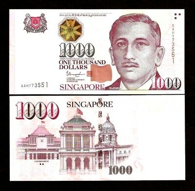SINGAPORE 1000 1,000 Dollars P51 2017-2018 1 or 2 Solid House UNC MONEY BANKNOTE