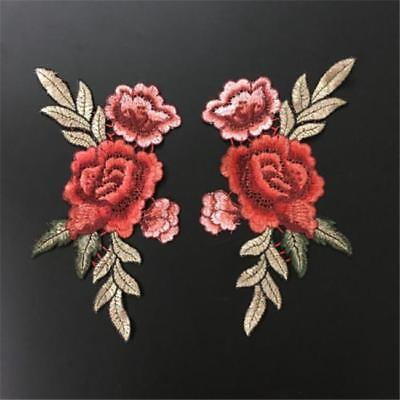 2Pcs Rose Flower Applique Badge Embroidered Sew on Floral Collar Patch  Badge 8C