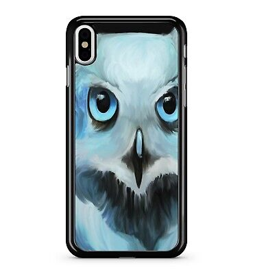 Fluffy Cute Blue Eyed White Water Painted Adorable Owl Bird 2D Phone Case Cover