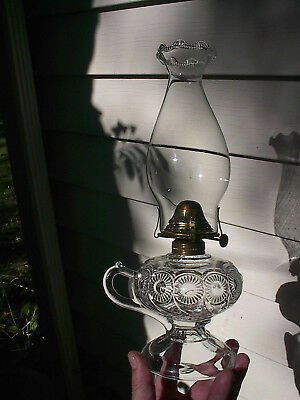 OLD 1890s SWIRLED ROSETTES PATTERN ANTIQUE FINGER OIL LAMP w/STAND BASE