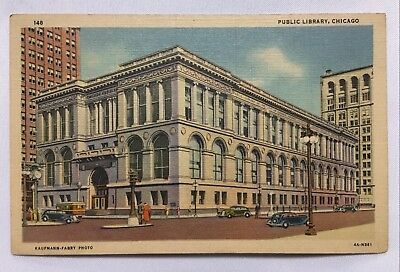 Illinois IL Chicago Library Postcard Old Vintage Card View Standard Post