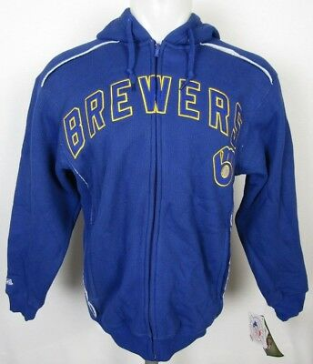 Milwaukee Brewers Stitches Men's Pullover Blue Thermal Fleece Lined Hoodie MLB S