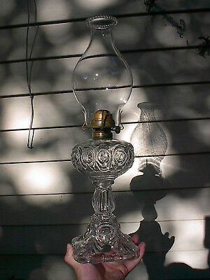 OLD LARGE TALL ORNATE 1890s BULLSEYE PATTERN ANTIQUE SEWING OIL LAMP A+