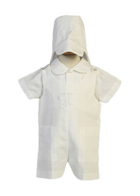 3018324ee4d7 RAIN KIDS BABY Boys White Shantung Silk Cross Hat Stole Baptism ...