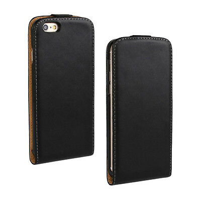 UK Black Luxury Genuine Real Leather Flip Case Cover for iPhone 7/8 UK FASTPOST