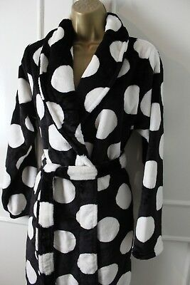 Medium 10-12 UK Next Ladies Spotted Super Soft Fleece Dressing Night Gown  Robe 2152247ad