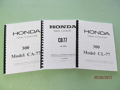 Honda 305 CA77 CB77 CL77 Dream Super Hawk Scrambler Parts Catalog Manual Book