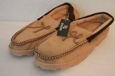 NEW Mens Slippers Tan Moccasins Medium 10 - 11 House Shoes In/ Outdoor Sole *