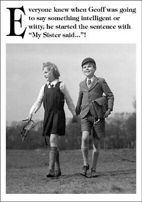 Funny Black White Personalised Birthday Card Son Brother Sister