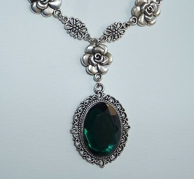 Camellia Filigree Victorian Style Deep Green Acrylic Silver Plated Necklace Cf