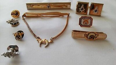 9 Piece Lot Of Masonic Men's Jewelry/tie Tacks, Tie Bars, Cuff Links, Cash Clip