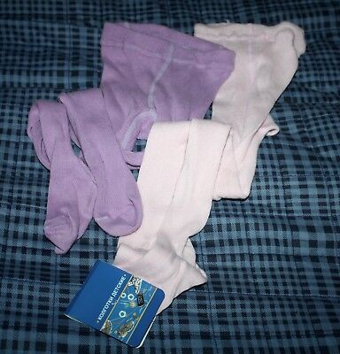 Brand New 100% Cotton 2 Pair Of Tights Lavender/rose Size 3 Years