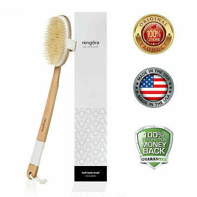"Exfoliating Bamboo Bath Brush Long 18"" Handle Back Body Scrubber For shower"