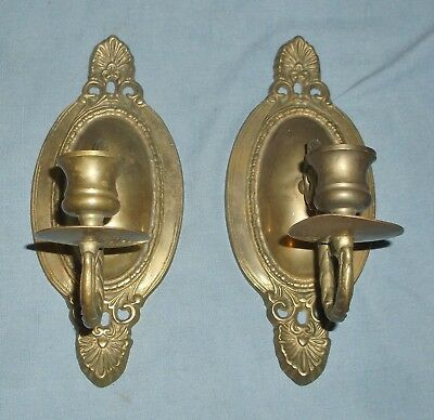 Two Vintage Brass Wall Sconces Candle Holders Victorian Design
