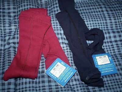 Brand New 100% Cotton 2 Pair Of Tights Blue/burgundy Size 4-5 Years