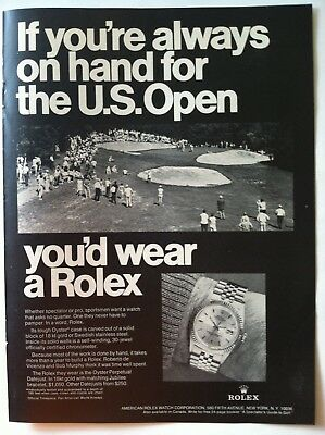 1969 Rolex Oyster Chronometer Datejust Advertising - If You Were On Hand Us Open