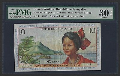 French Antilles ND(1964) P-8a  PMG Very Fine 30 EPQ 10 Francs