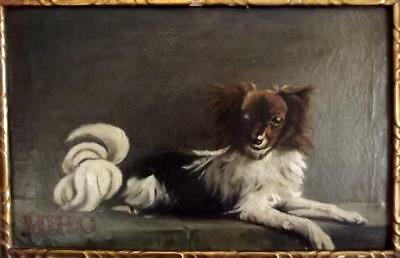 19th Century French ANTIQUE PRIMITIVE Oil Painting Portrait of a Dog Named MIRO