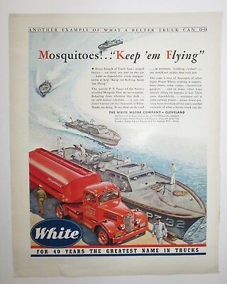 Navy PT Boat Mosquitoes! Keep 'em Flying White Gasoline Truck ad 1942 WWII