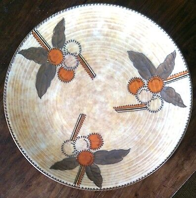 Charlotte Rhead signed Crown Ducal art deco charger design no.5982 32cms wide