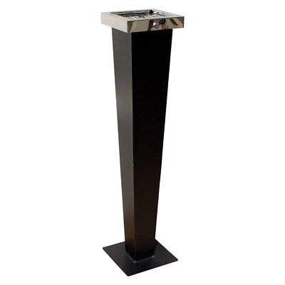 Qualarc WF-PS08S Huron Free Standing Cigarette Ash Receptacle Black with Chrome