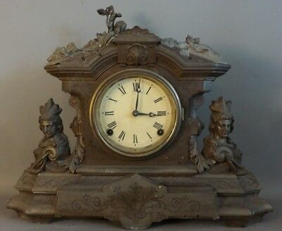 19thC Antique VICTORIAN Era BRONZED Figural INDIAN MAIDEN Bust LADY STATUE CLOCK