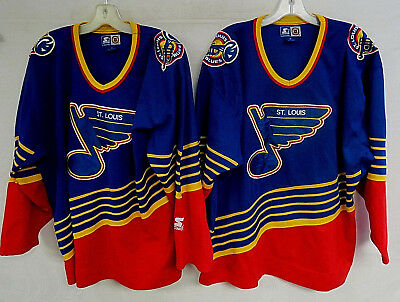 LOT OF 2 VINTAGE ST LOUIS BLUES HOCKEY JERSEY STARTER MENS L & XL 90s KEENAN NHL